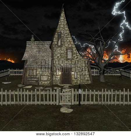 3D rendering of a spooky house on a night sky lighting and fire background