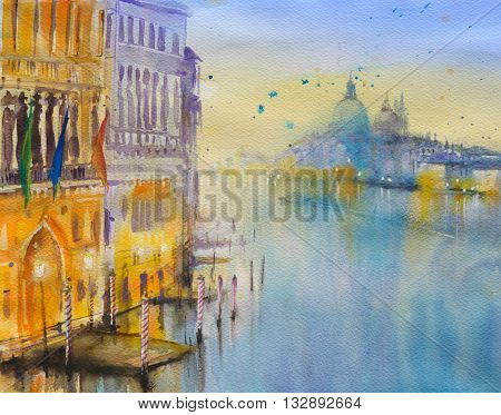 Venice architecture at Grand Canal at twiligh.Picture created with watercolors.