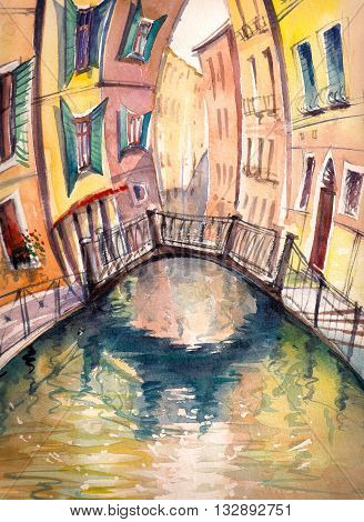 Venice architecture :bridge ,canal and colorful houses..Picture created with watercolors.