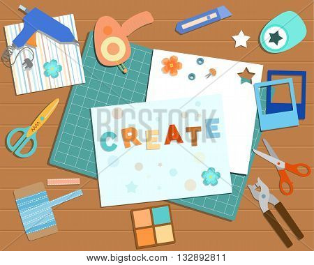 Top view of desk with scrapbook tools and elements: punch for eyelets scotch tape.Vector illustration.