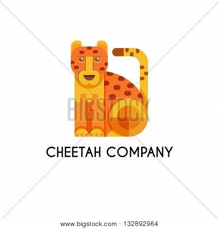 Cheetah made in unique geometrical flat style. Flat design template animal logo. Isolated icons for your design.