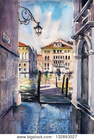 Venice architecture after rain. Picture created with watercolors.