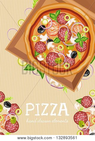 Pizza party fresh ingredients for pizza template hand drawn vector illustration