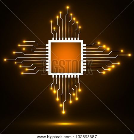 Cpu. Microprocessor. Microchip. Abstract technology symbol, circuit board