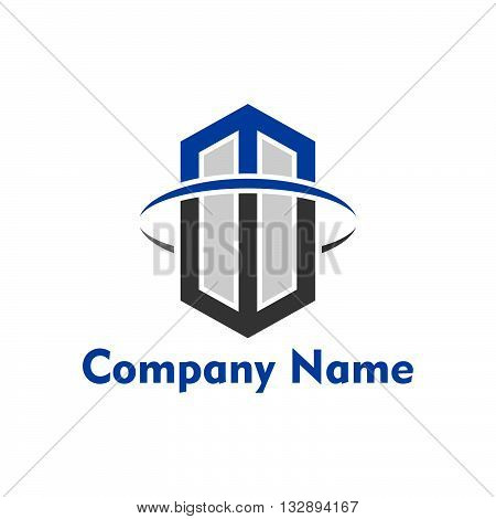 MW letter logo with building shaping for building company