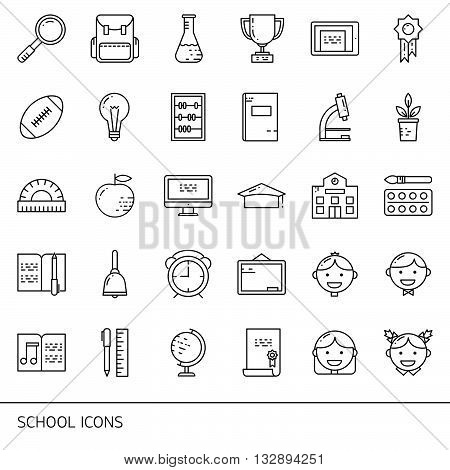 Education and learning line icons set. School objects and college items teaching symbols and educational equipment. Isolated on white background.