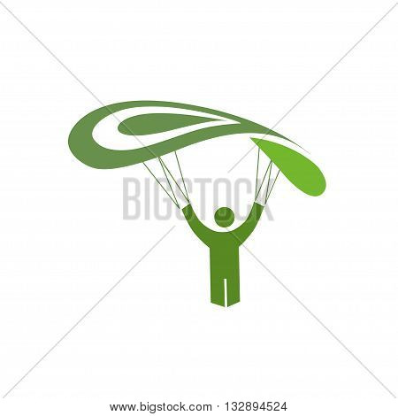 Skydiver parachuting sport vector illustration simple logo