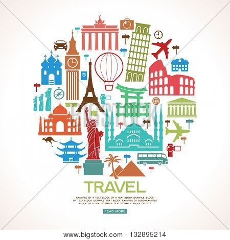 Travel and tourism background. Colorful template with icons and tourism landmarks. Illustration of flat design travel composition with famous world landmarks. File is saved in 10 EPS version.