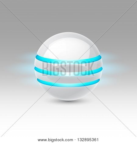 White smooth ball of the future with blue luminescent bands
