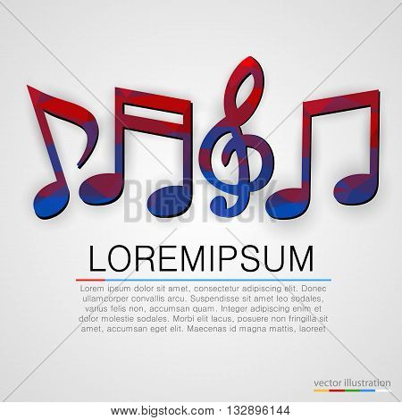 Colorful music notes symbols background. Vector illustration