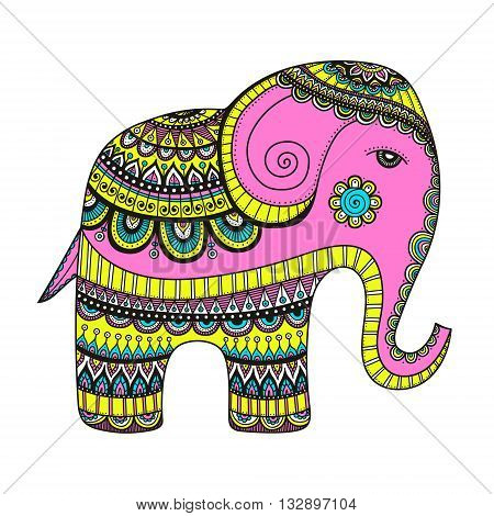 Indian elephant. Hand drawn doodle indian elephant with tribal ornament. Vector ethnic elephant. Bright colors - pink yellow blue and white.