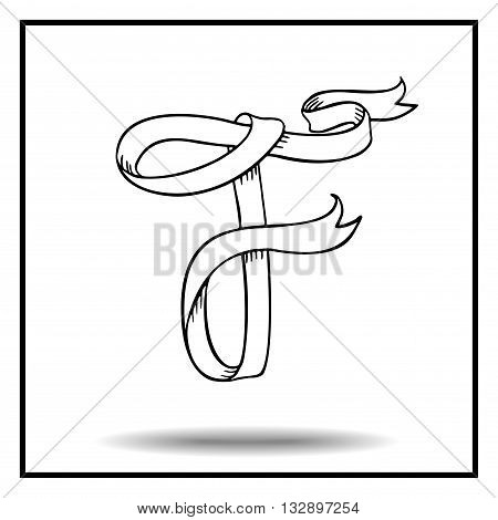 Ribbon alphabet. Ribbon letter. Ribbon F. Display ribbon font. Sketch ribbon latter F.