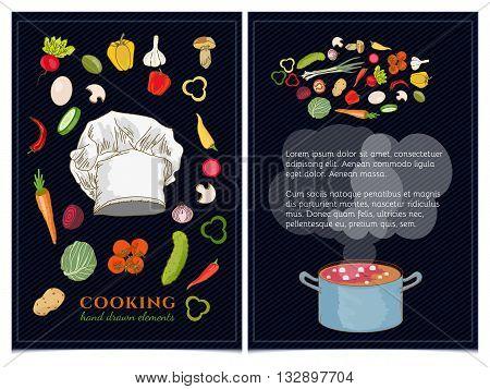 Cookbook vector fresh vegetables make soup illustration