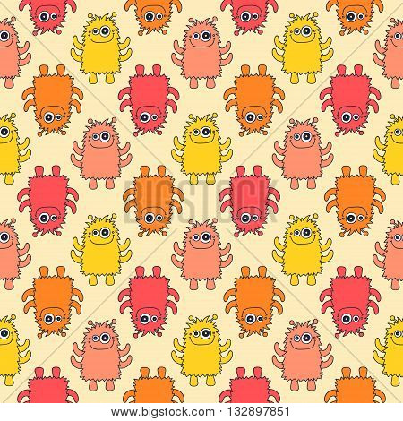 Cute monsters. Seamless pattern with fun doodle monsters. Colorful vector background for kids.