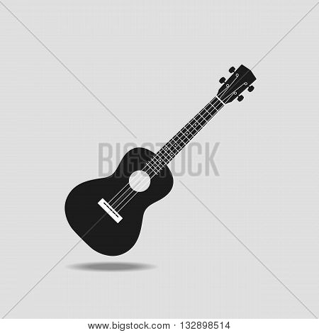 Ukulele icon on grey background flat design vector illustration