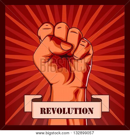 Revolution fist creative poster concept. Vector illustration