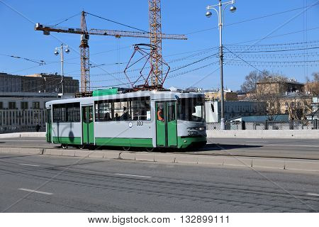 MOSCOW, RUSSIA - APRIL 11, 2015: Retro Tram in Moscow