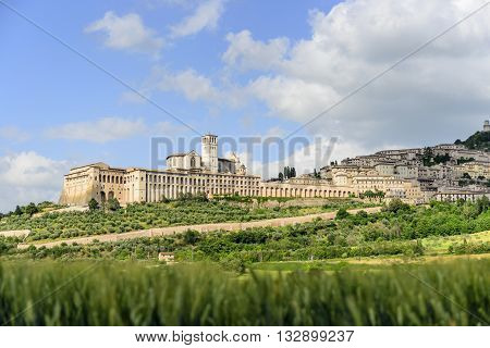 Cityscape Assisi basilica and monastery in Umbria Italy