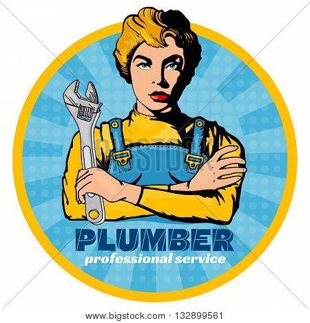 Professional plumber beautiful girl pop art vector illustration