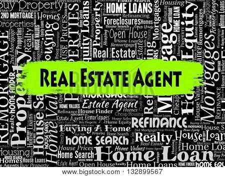 Real Estate Agent Represents Property Market And Buildings