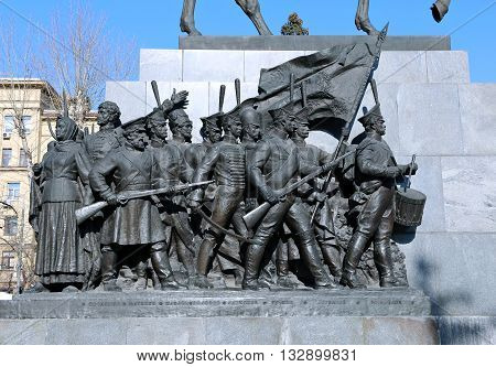 MOSCOW, RUSSIA - APRIL 11, 2015: Russian monument to the heroes of the war against Napoleon