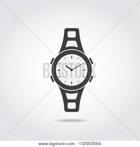 Sport watch icon. Water resistant mechanical watch for sport and activity.