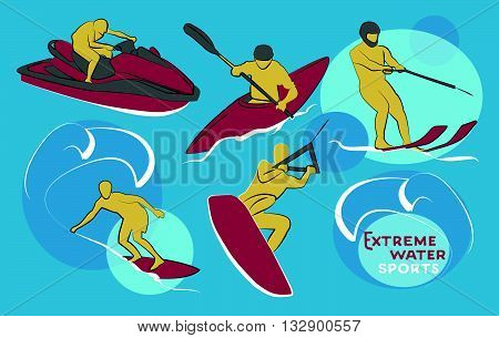 Extreme water sports icons. Vector illustration, EPS 10