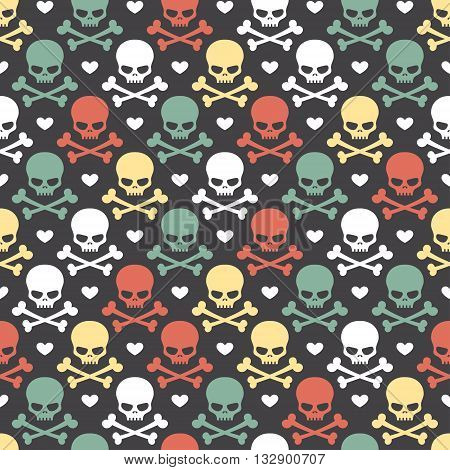 Seamless pattern with colored skulls crossbones and hearts on black background in vector