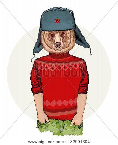 Hipster animals portrait of fashion bear fashion illustration