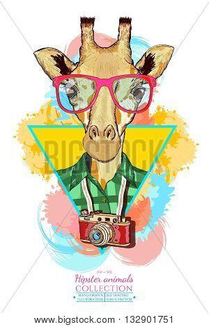 Portrait of fashion giraffe hipster animals hand drawn vector illustration