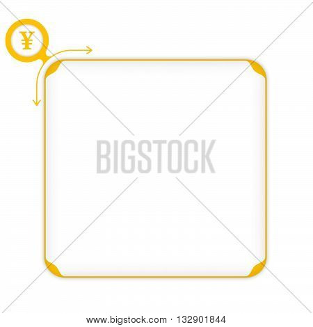 Vector yellow box to fill your text and yen symbol
