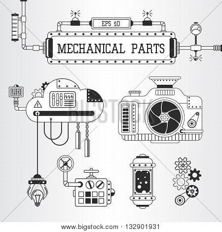 Vector illustration of steampunk mechanical parts: photo camera pipes cogwheels.