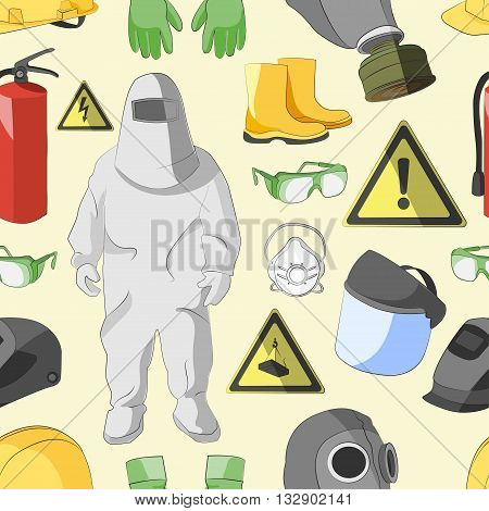 Set of tools, signs and protective clothing and equipment for safe work pattern