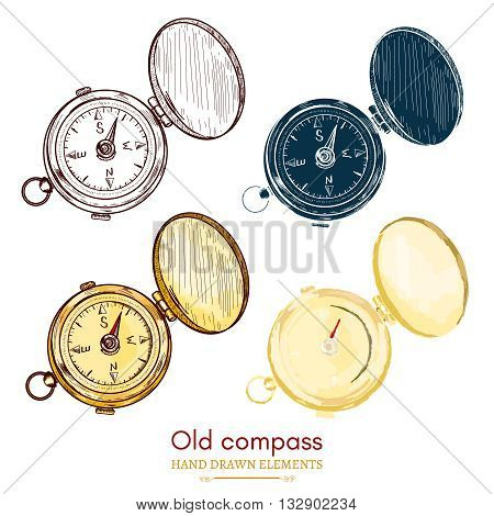 Old compass vintage compass collection hand drawn vector