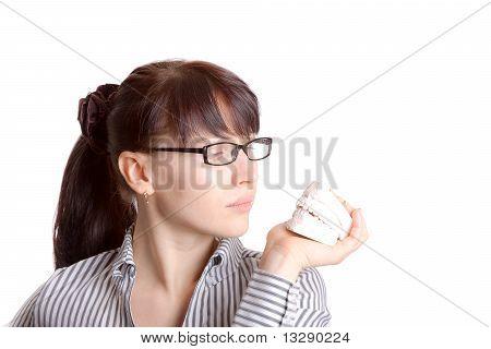 Woman & plaster jaw model