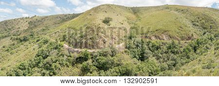 Panorama of the historic Suurberg Pass between Annes Villa and Addo in the Eastern Cape Province