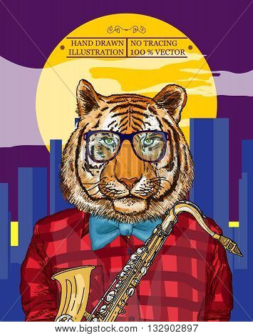 Tiger plays jazz on the saxophone in the night city poster hipsters animals hand drawn vector