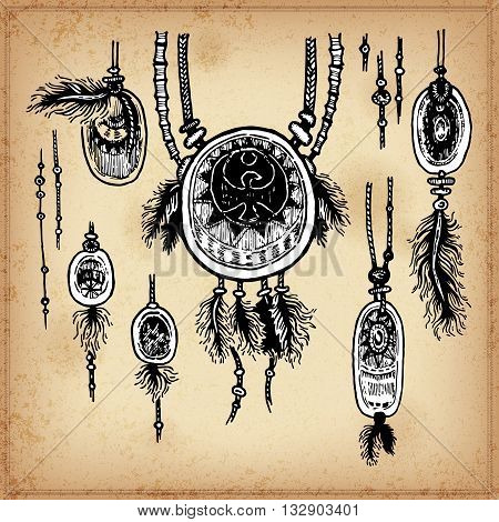 Set of hand drawing ink black and white pendants. Vector illustration. Set of doodle tribal elements. Pendants in native style for greeting card and postcard, henna and tattoo design.