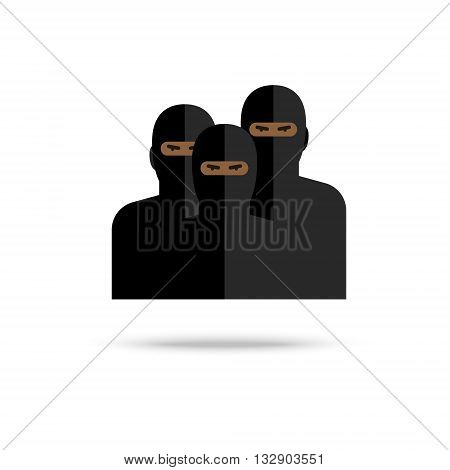 Icon of terrorists on white background. Flat design, vector illustration. Flat design, vector illustration.