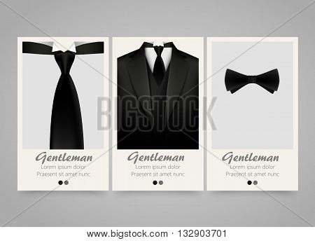 Modern colorful vertical official clothing banners. Wedding ceremony invitation, official meeting, or fashion flyer set. Backgrounds with tuxedo, tie and bow. Vector illustration