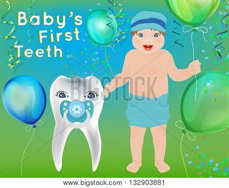 Baby First Teeth postcard in childish style. Tooth hygiene concept in green and blue colours. Dental image useful for poster, placard, leaflet and brochure design. Editable vector illustration
