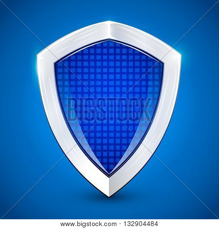 Shiny metal blue shied. Protection concept. Vector illustration