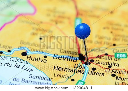 Dos Hermanas pinned on a map of Spain