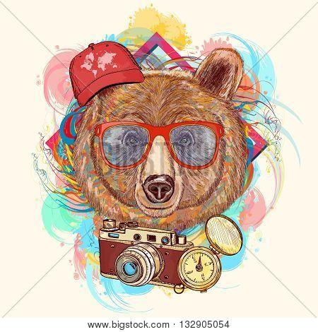 Bear hipster art print hand drawn animal illustration