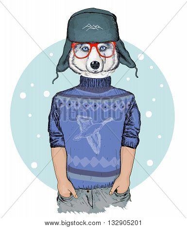 Portrait of fashion husky dog hipster animals hand drawn vector