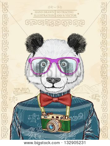 Panda vector hipster animals hand drawn fashion illustration