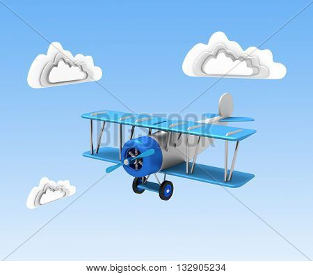 Vintage Airplane With Blue Wings And A Propeller On A Background Of Blue Sky And Clouds. 3D Illustra