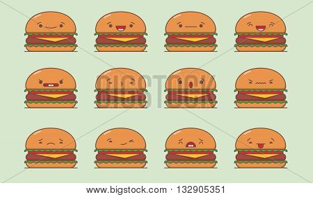 Vector burger set. Set of vector kawaii burger emoticons. Isolated on green background.