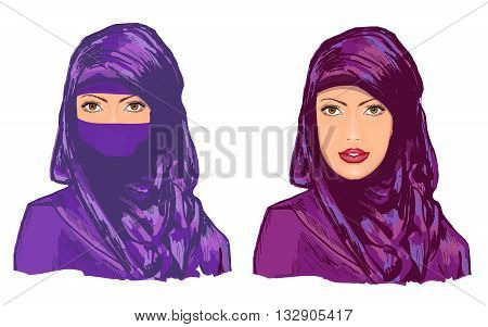 Muslim woman girl in hijab vector illustration