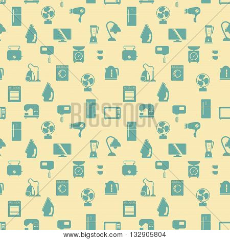 Seamless pattern of household appliances. Washing machine stove fridge lamp kettle hairdryer mixer coffee machine weigher fan monitor microwave vacuum cleaner and toaster